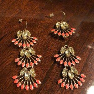 Convertible coral earrings /wear short or long